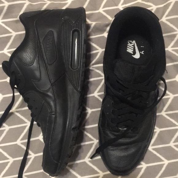 Details about Nike Air Max 90 Leather Mens Triple All Black Retro Shoes 302519 001 Sz 11 CLEAN